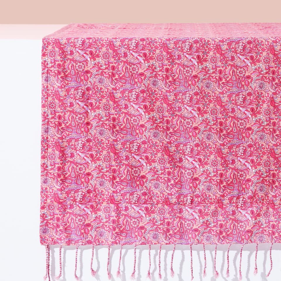 FLORAL DOUBLE-WEAVE COTTON TOWEL