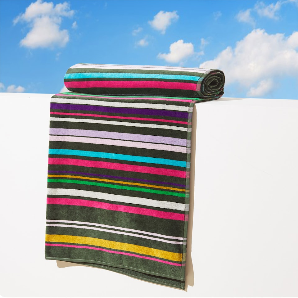 MULTICOLOURED LINES VELVET COTTON TOWEL