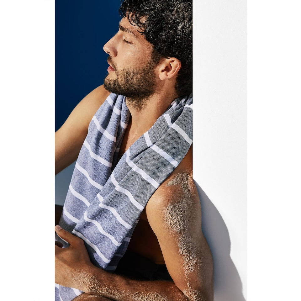 STRIPED DOUBLE-WEAVE COTTON TOWEL