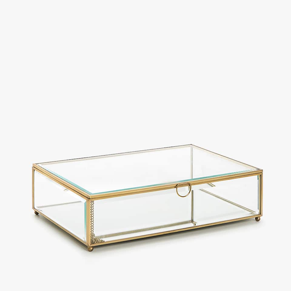 GLASS BOX WITH GOLD EDGES