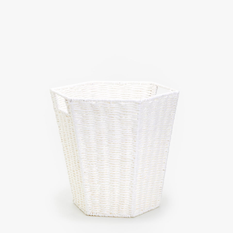 HEXAGONAL PAPER BASKET WITH HANDLES