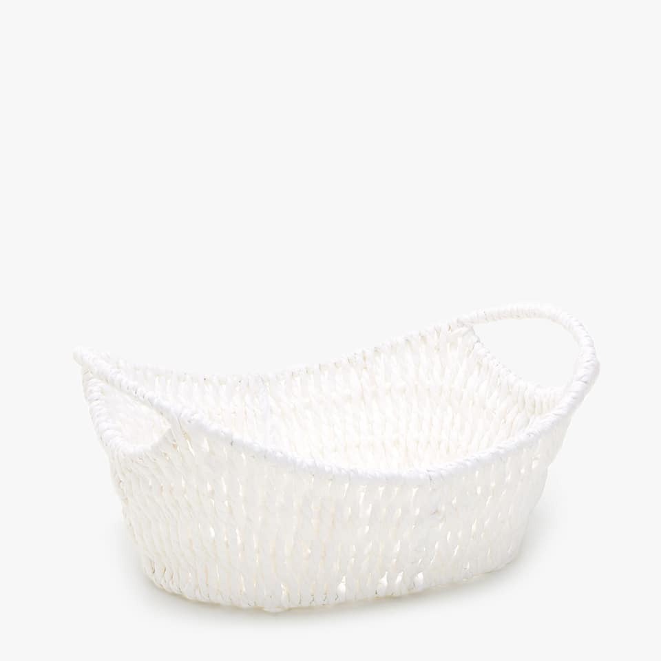 LOW BRAIDED PAPER BASKET WITH HANDLES