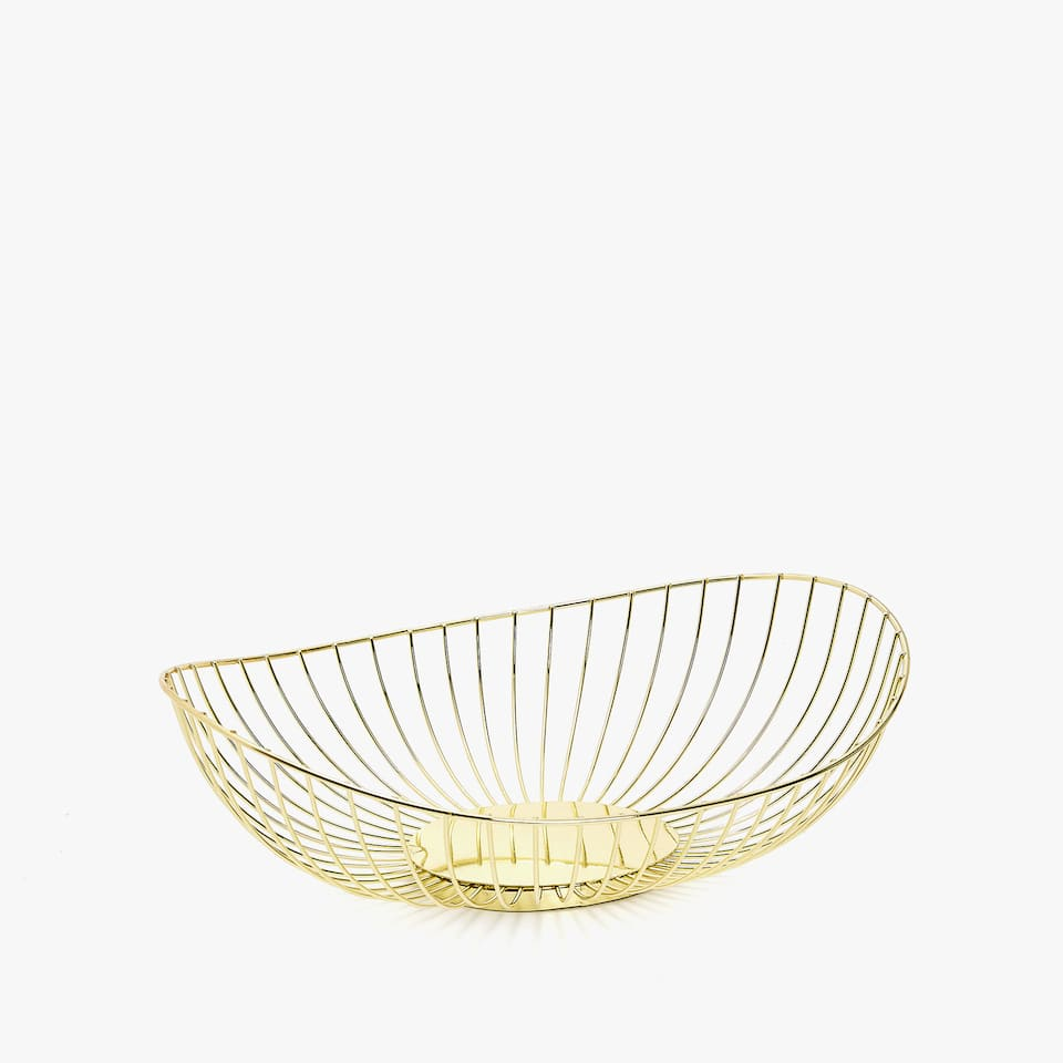 ROUND GOLD METAL BASKET