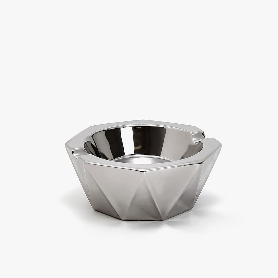 SILVER GEOMETRIC ASHTRAY
