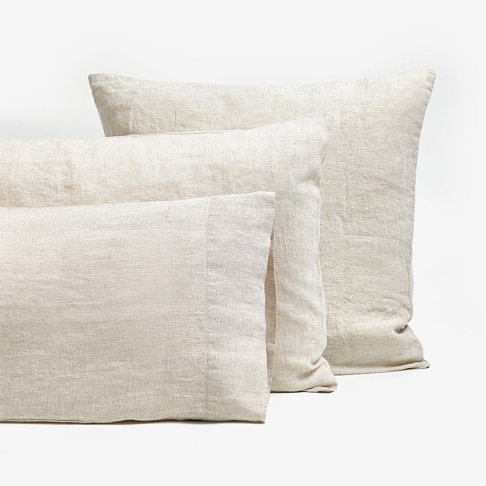 NATURAL-COLOUR LINEN PILLOWCASE