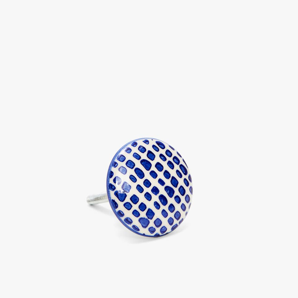 BLUE MOTIF CERAMIC DOOR KNOB (SET OF 2)