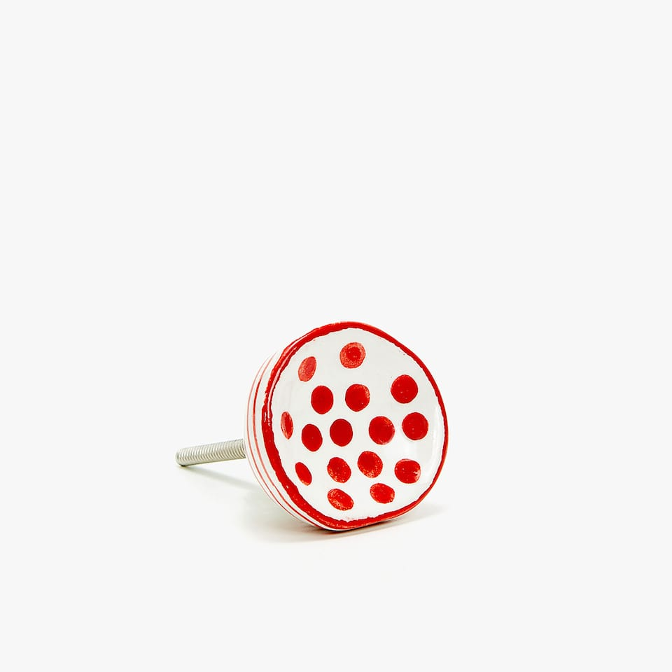 STRIPES AND DOTS CERAMIC DOOR KNOB (SET OF 2)