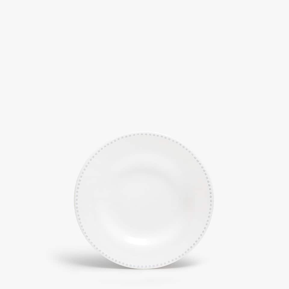 EARTHENWARE DESSERT PLATE WITH RAISED-DESIGN EDGE