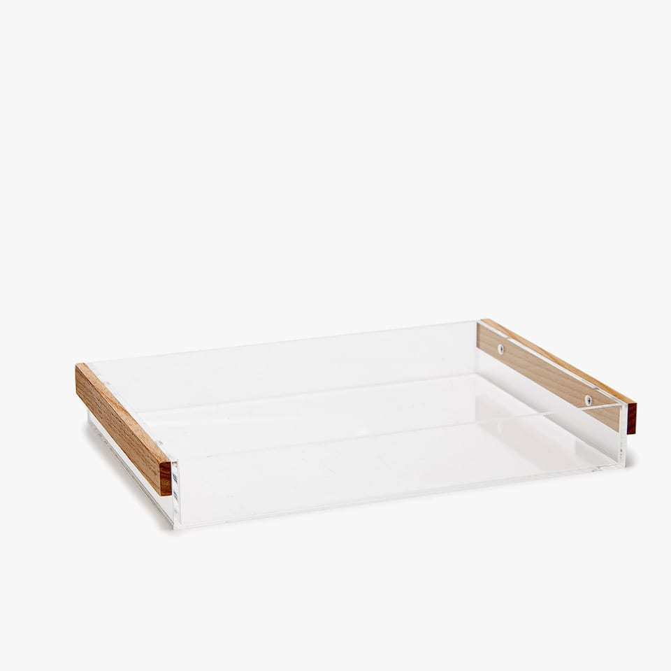 METHACRYLATE TRAY WITH WOODEN HANDLES
