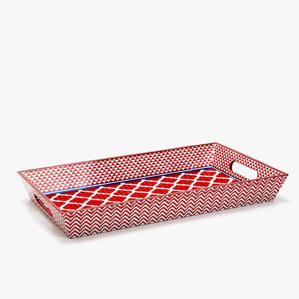 GEOMETRIC PRINT RECTANGULAR TRAY