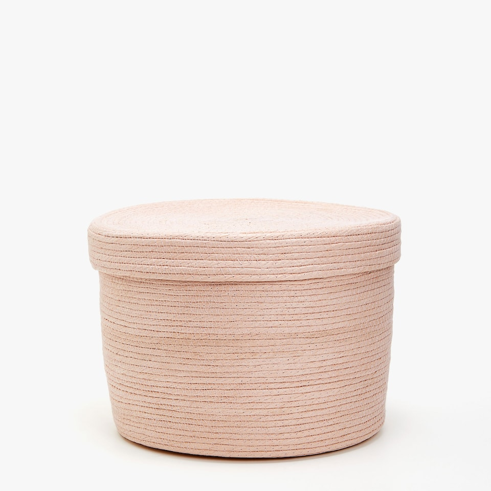 ROUND PAPER BASKET WITH LID