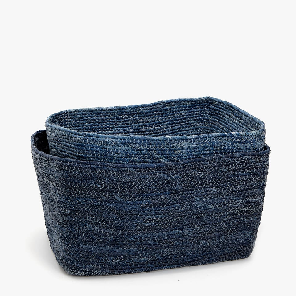 BLUE RECTANGULAR BASKET
