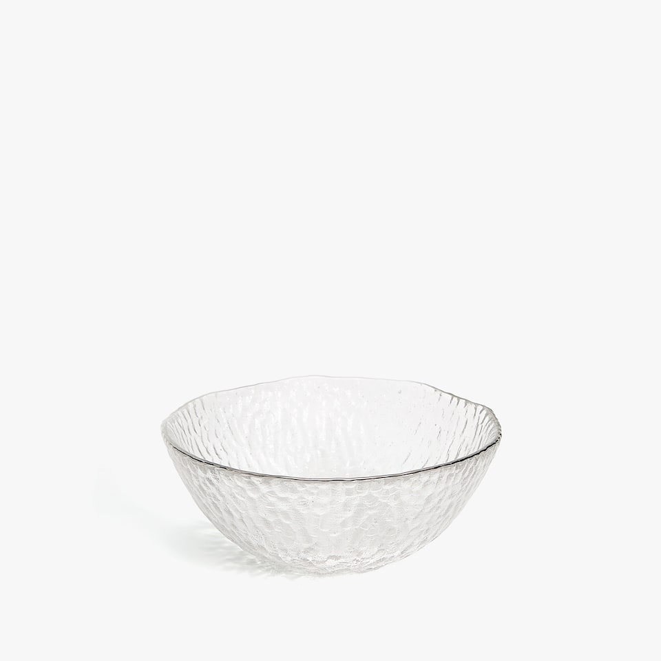 GLASS BOWL WITH METAL RIM