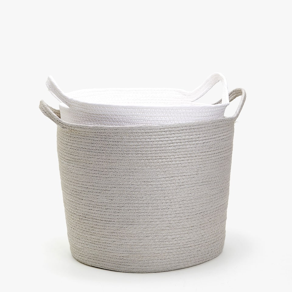 ROUND PAPER BASKET WITH HANDLES