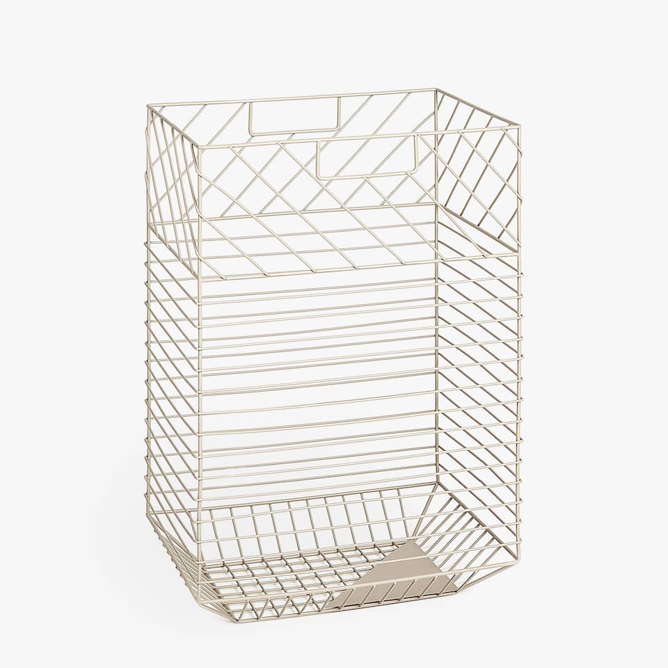 METAL LAUNDRY BASKET WITH HANDLES