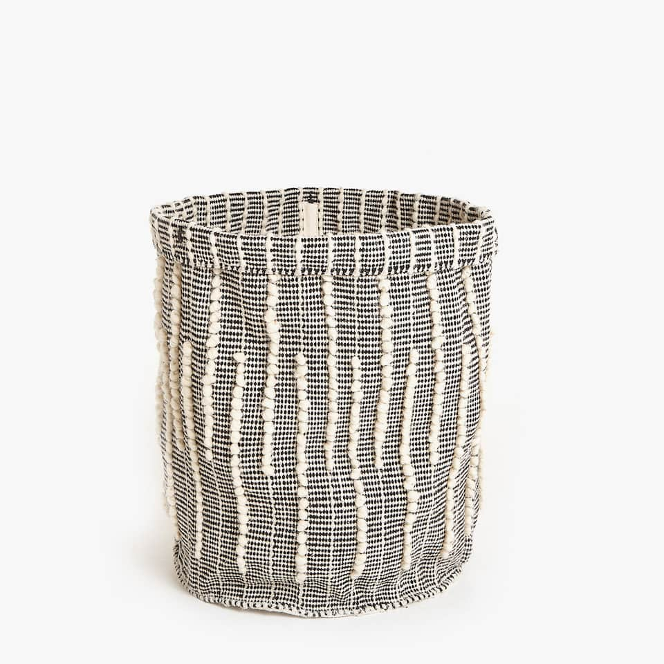 STRIPED WOOL BASKET