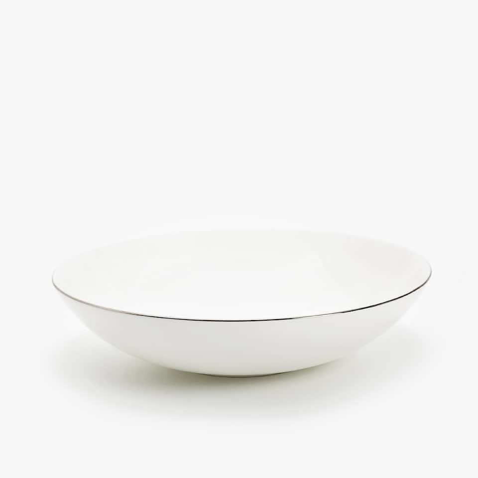 SILVER-RIMMED BONE CHINA SOUP DISH