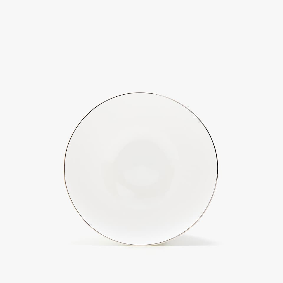 SILVER-RIMMED BONE CHINA SIDE PLATE