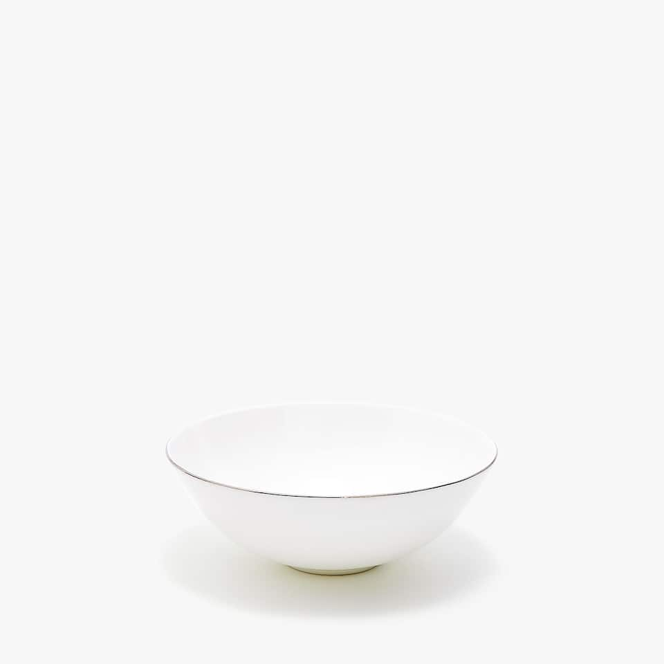 SILVER-RIMMED BONE CHINA BOWL