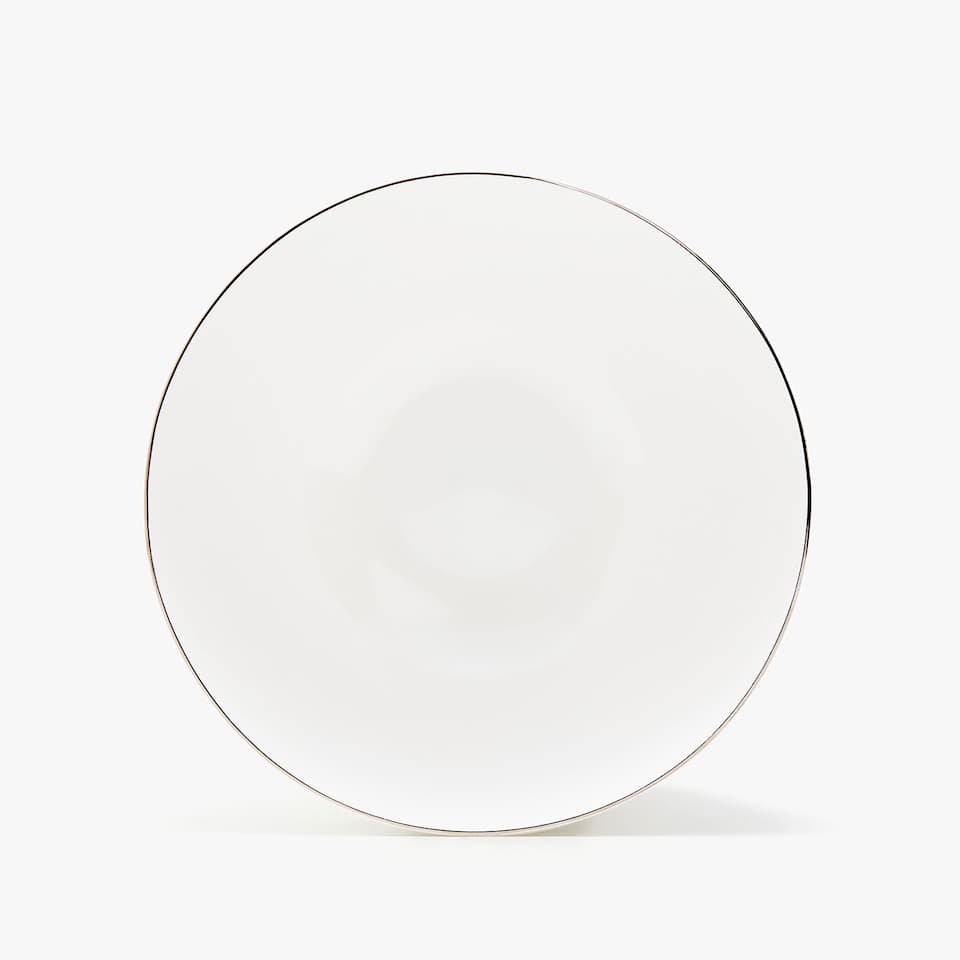 SILVER-RIMMED BONE CHINA SALAD BOWL