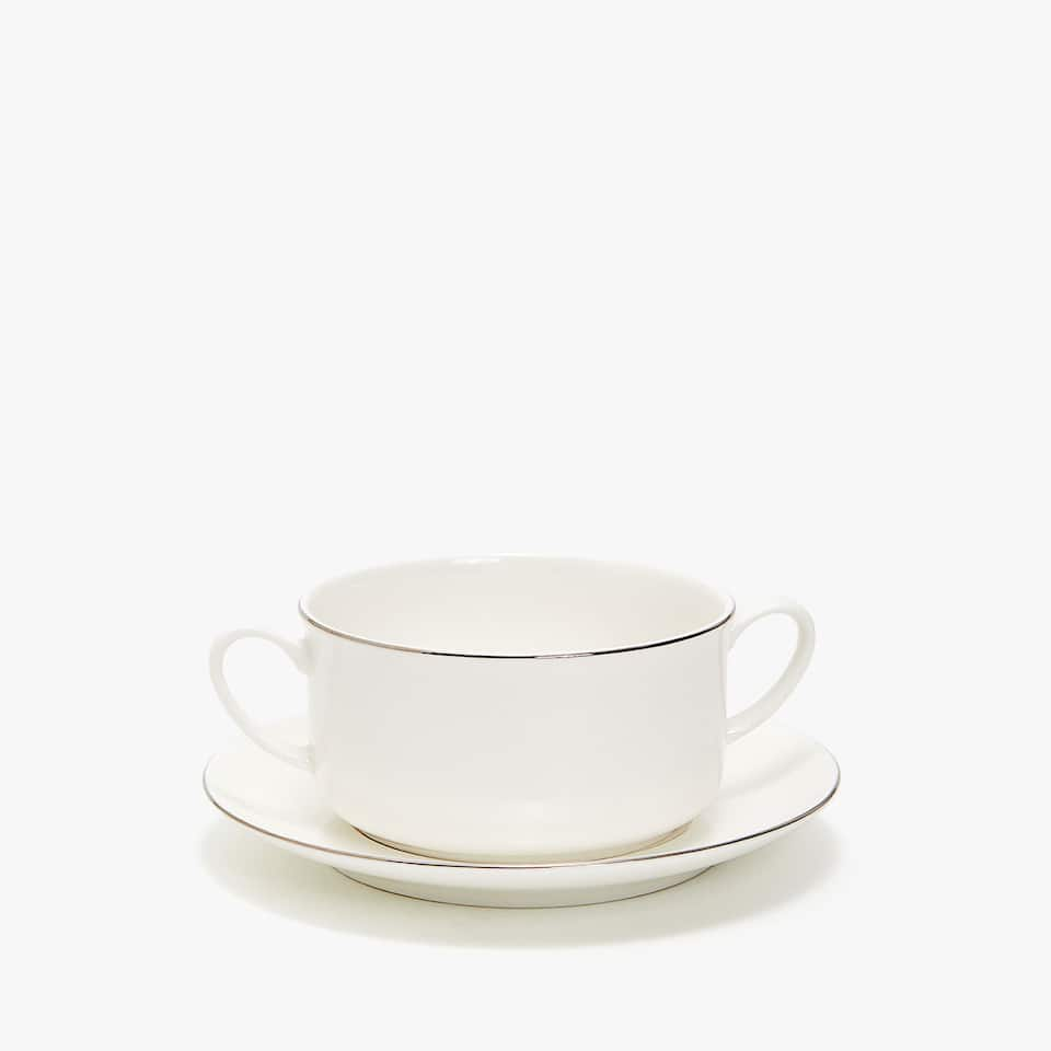 SILVER-RIMMED BONE CHINA SOUP PLATE AND SAUCER