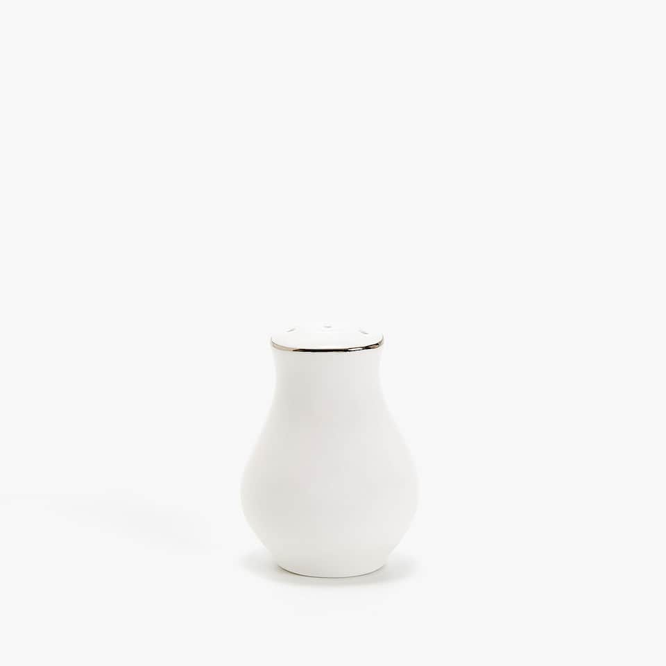 SILVER-RIMMED BONE CHINA SALT SHAKER