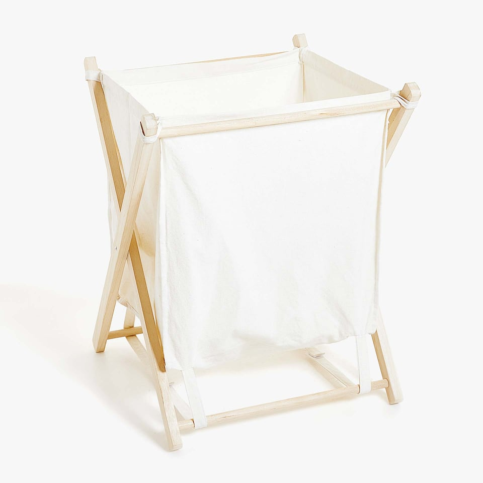 WOODEN FRAME LAUNDRY BASKET
