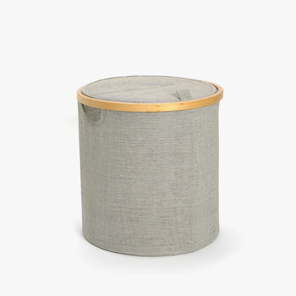 FOLDABLE WASTEPAPER BIN WITH BAMBOO RIM