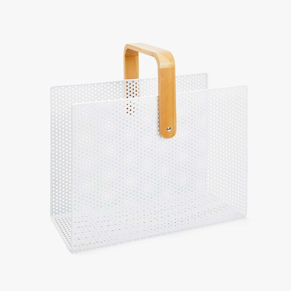 METAL MAGAZINE RACK WITH BAMBOO HANDLE