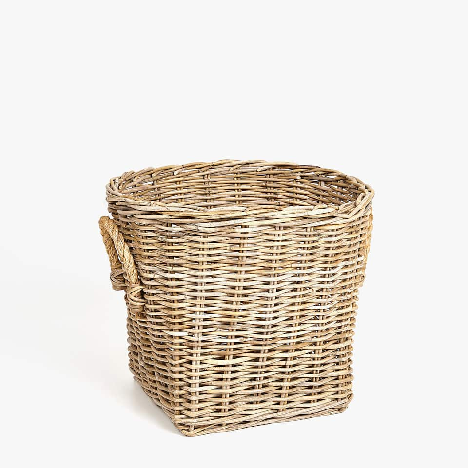 RATTAN BASKET WITH JUTE HANDLES