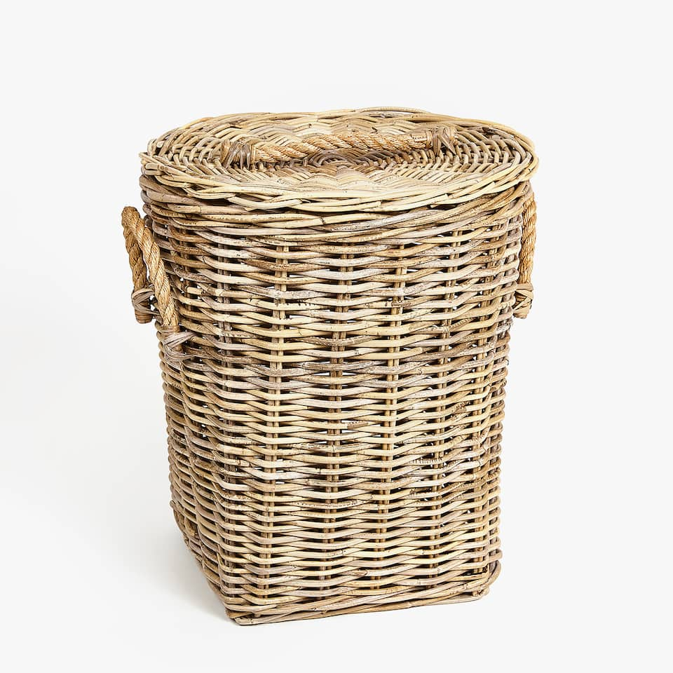 LAUNDRY BASKET WITH JUTE HANDLES