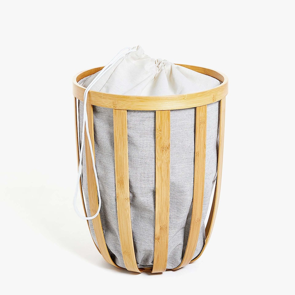 BAMBOO FABRIC-LINED LAUNDRY BASKET