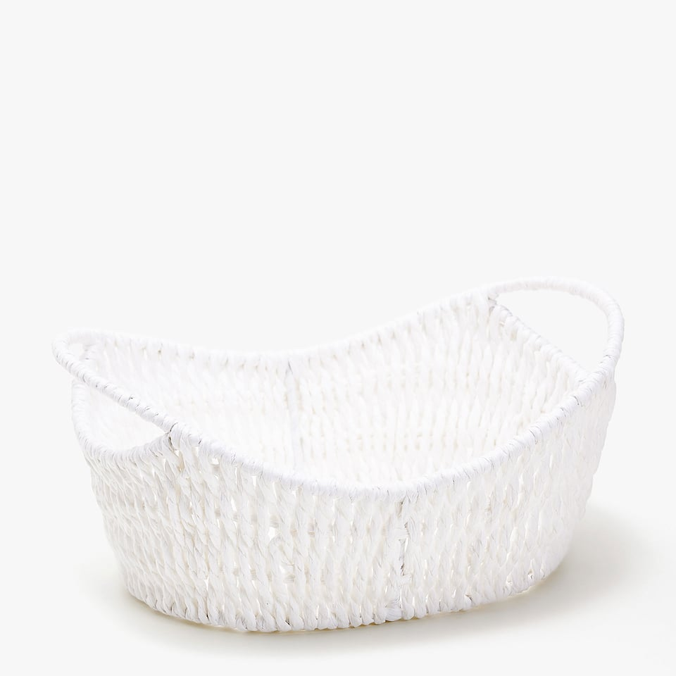 PLAITED PAPER BASKET WITH HANDLES