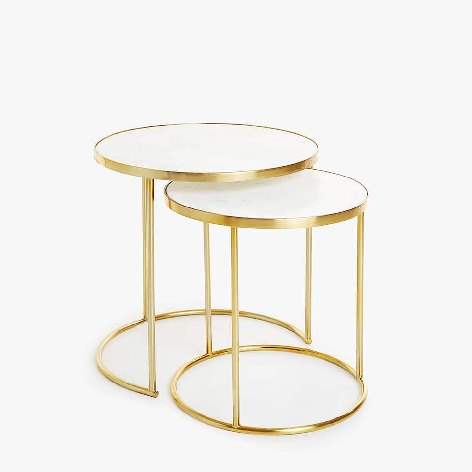 NEST OF TABLES WITH MARBLE TOP AND GOLDEN FRAME (SET OF 2)
