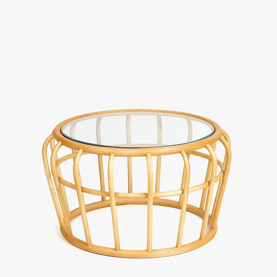RATTAN CAGE SIDE TABLE