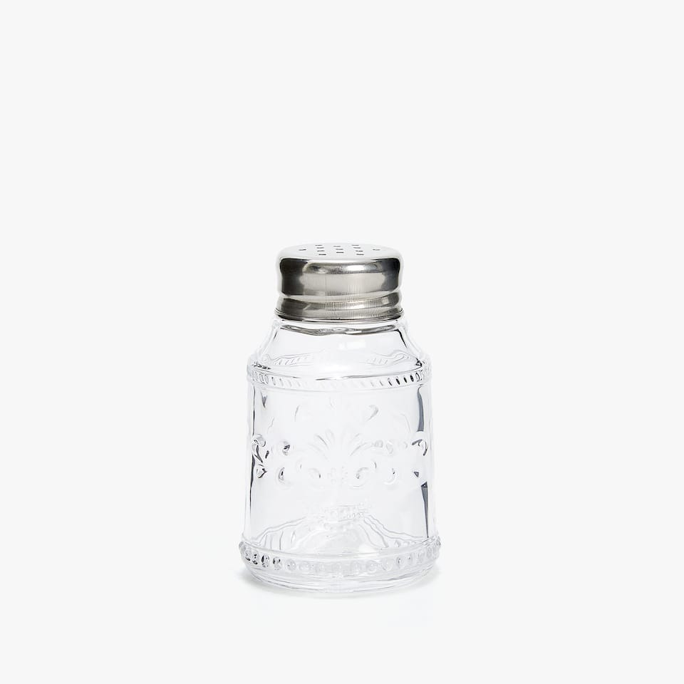 ENGRAVED GLASS AND STEEL SALT SHAKER