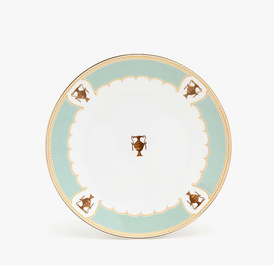 Dinner plate with aquamarine edge and gold rim