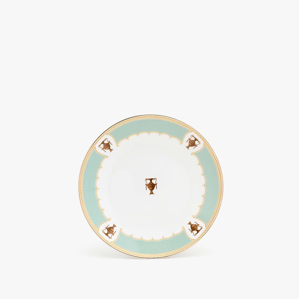 Dessert plate with aquamarine edge and gold rim