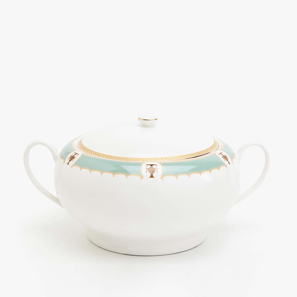 Soup tureen with aquamarine edge and gold rim