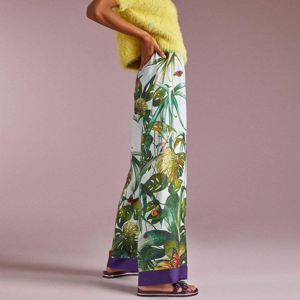 TROPICAL PRINT SILK TROUSERS