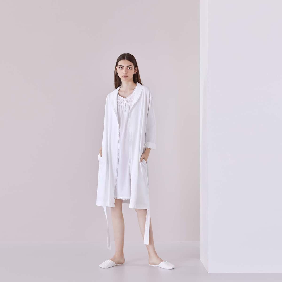 COTTON DRESSING GOWN WITH LACE TRIMS - SHOP ONLINE - VARIOUS | Zara ...