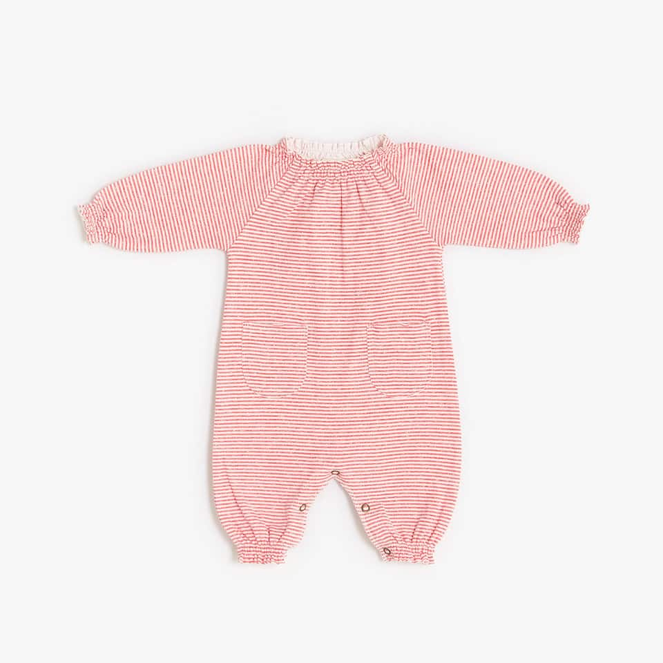 TWO-TONE STRIPED ROMPER SUIT WITH GATHERED COLLAR