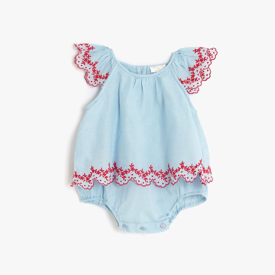 EMBROIDERED CONTRAST ROMPER SUIT
