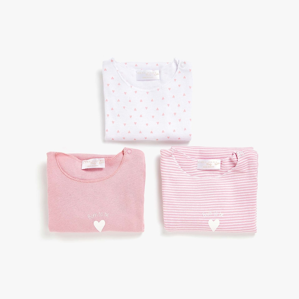 HEART PRINT COTTON BODYSUIT (SET OF 3)