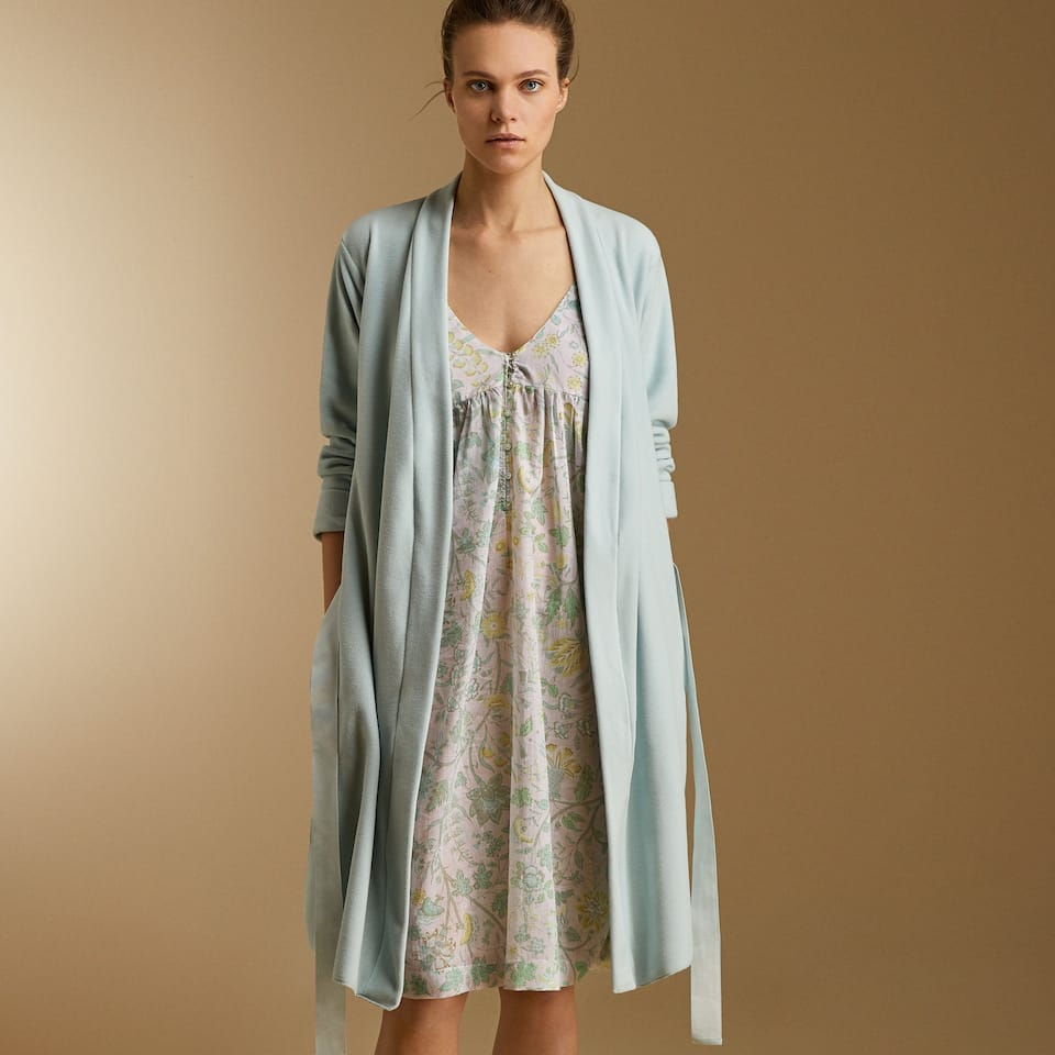 MICRO FLEECE DRESSING GOWN WITH BELT