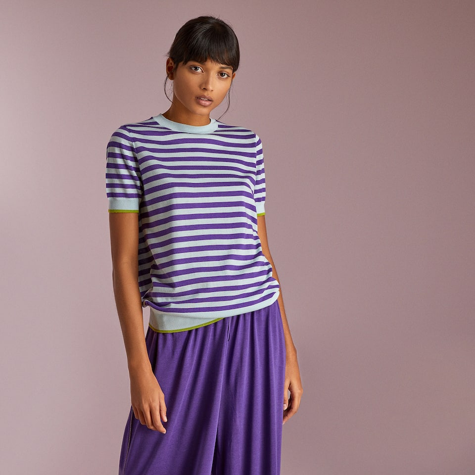 STRIPED WOOL SWEATER WITH SHORT SLEEVES