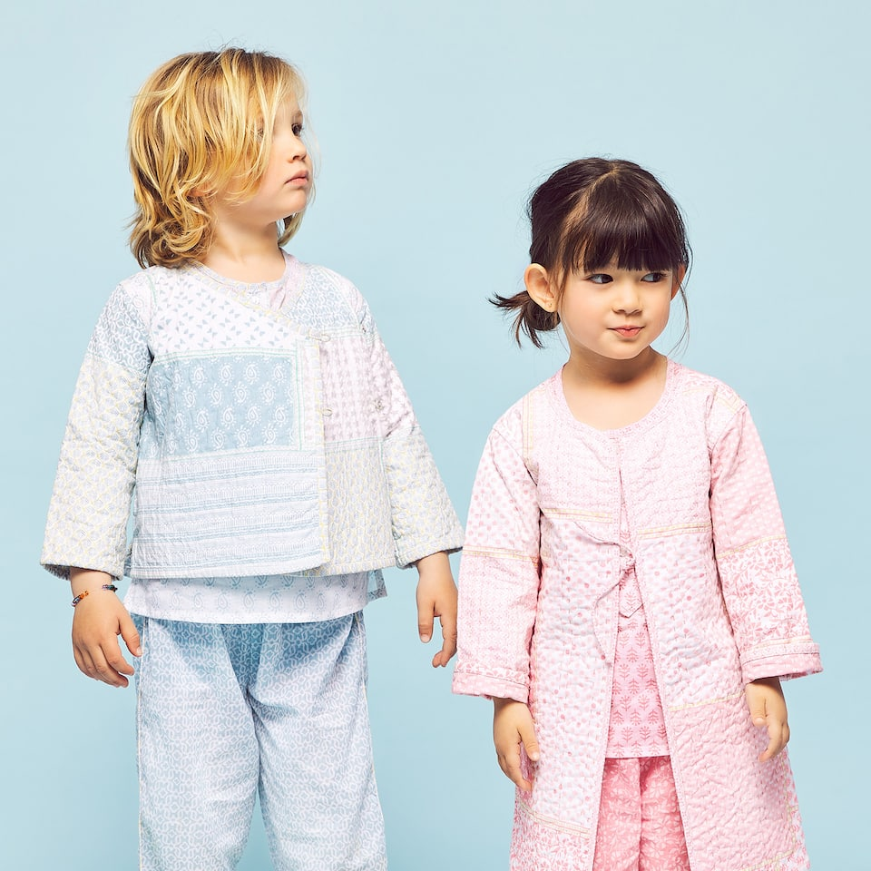 PATCHWORK-EFFECT DRESSING GOWN