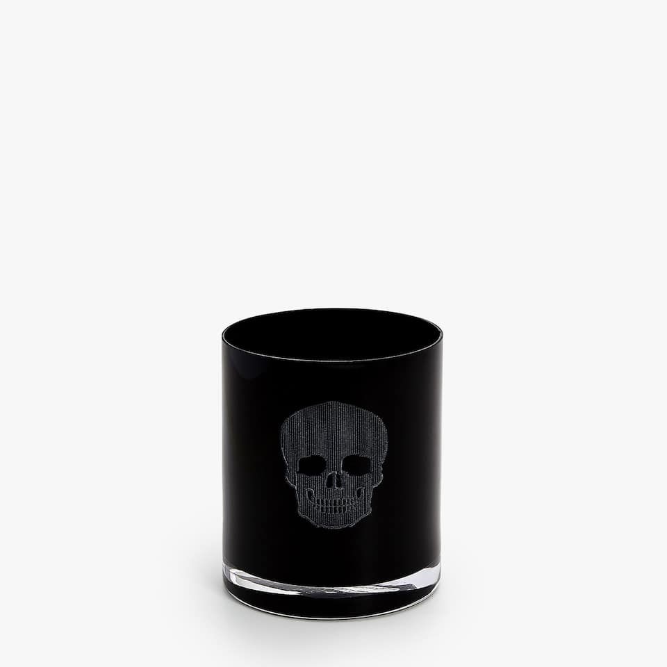 TUMBLER WITH ENGRAVED AND PAINTED SKULL