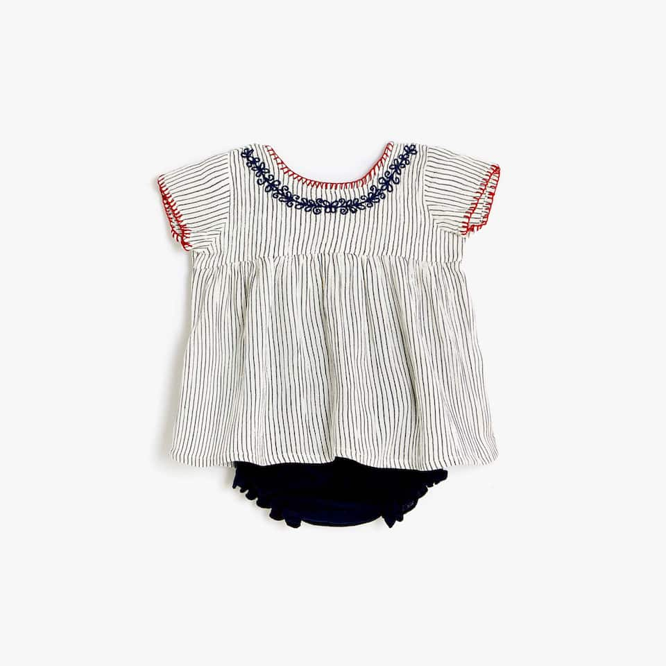 STRIPED BLOUSE AND BABY BRIEFS SET WITH EMBROIDERY