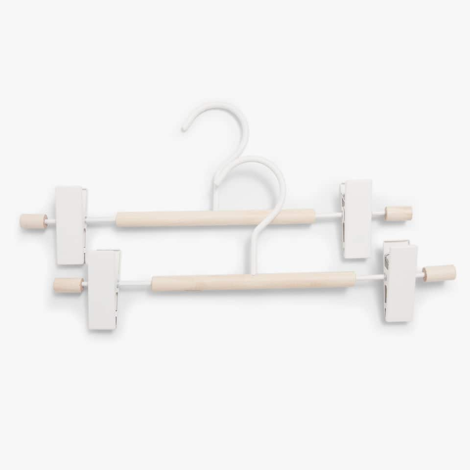 WOOD AND METAL SKIRT HANGER (SET OF 2)